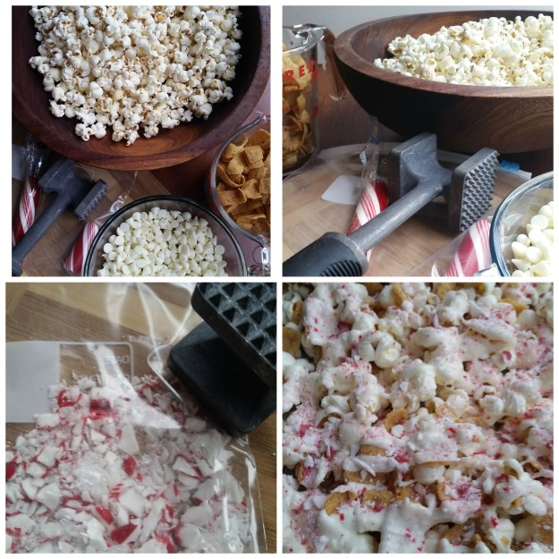 white chocolate peppermint crunch popcorn
