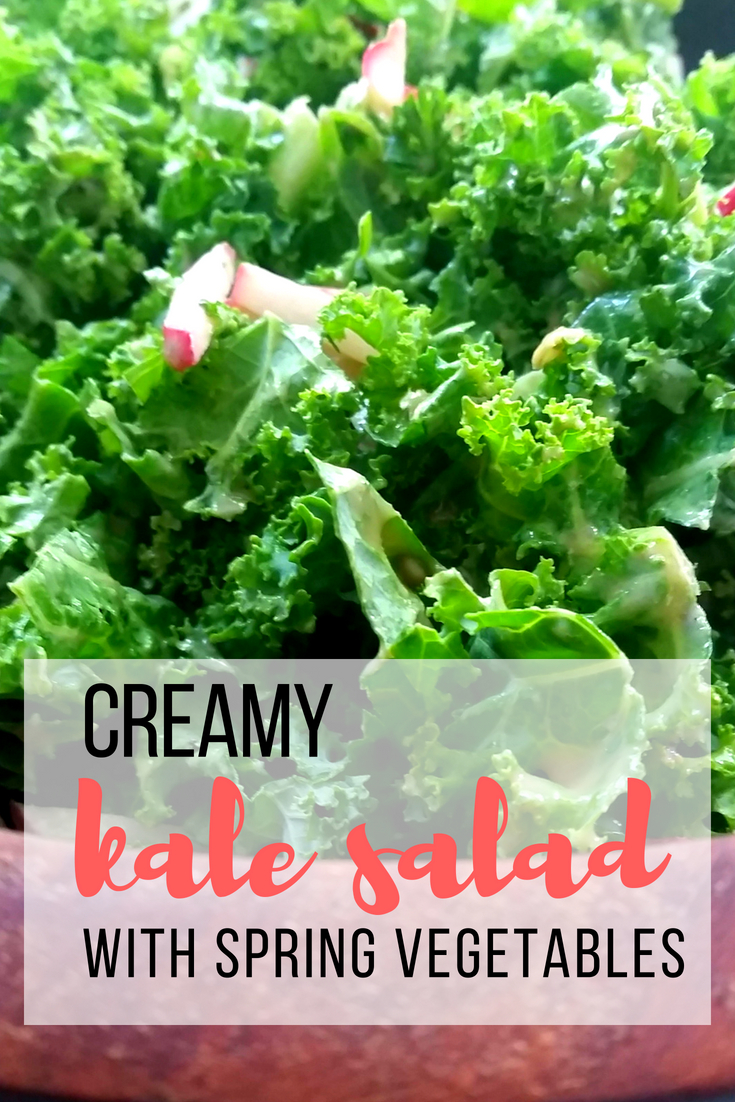 Creamy Kale Salad with Spring Vegetables