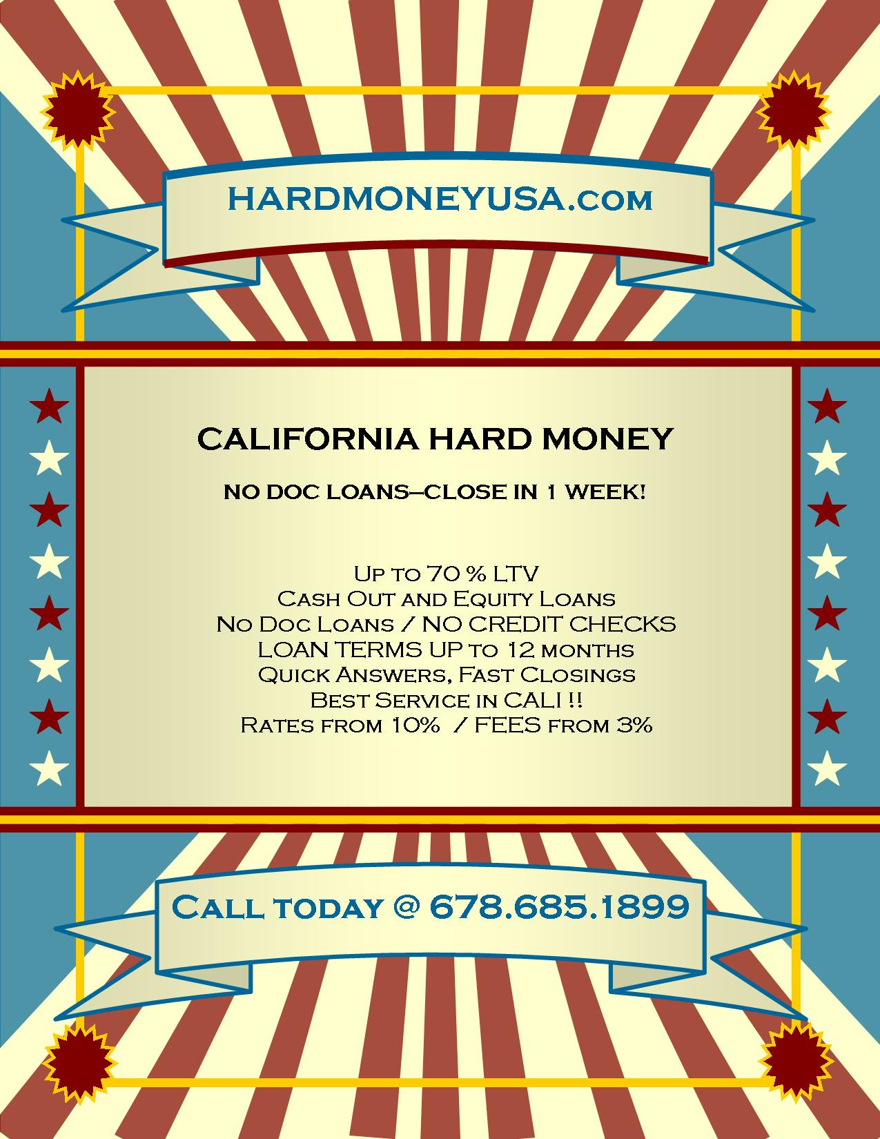 California Hard Money Loans