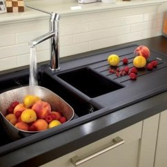 Black Kitchen Sinks Apple Valley Cabinets Contemporary Granite Composite Ideas Sink With Drainer