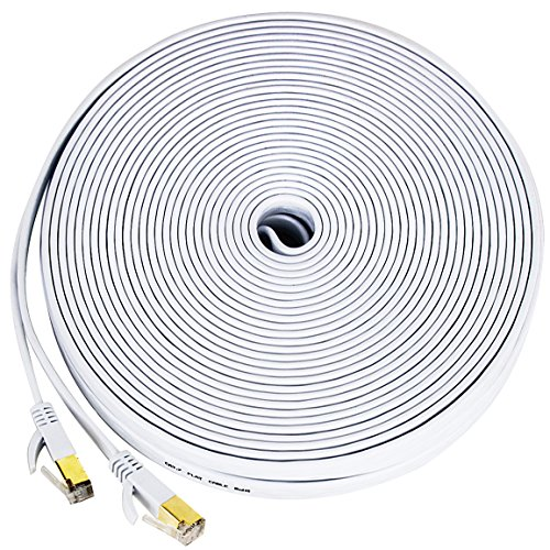 Cat 7 ethernet cable white, [100 Feet] Wireless Outdoor