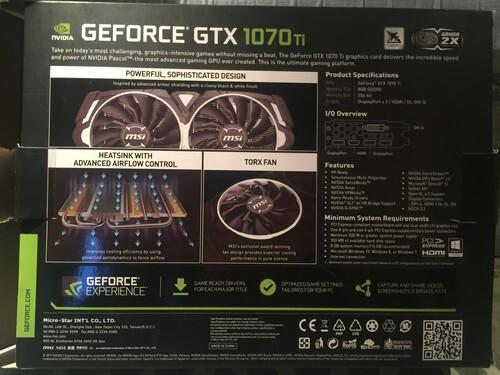 MSI armor gtx 1070 ti DXR ( RTX ) TECHNOLÓGIÁVAL dobozában - HardverApró