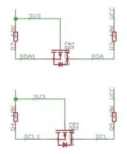 Détail du schéma de l'adaptateur de niveau des capteurs Grove