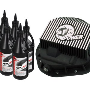 aFe POWER 46-70022-WL Rear Differential Cover, Machined Fins; Pro Series w/ Gear Oil-0