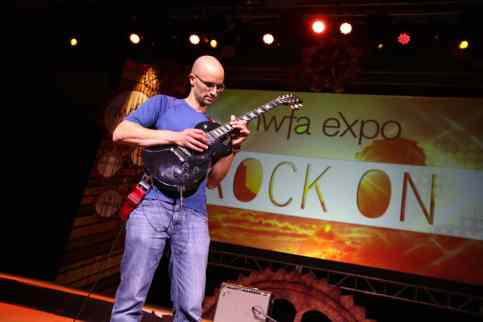 NWFA Member Avi Hadad Plays the U.S. National Anthem at the Opening Act on the electric guitar