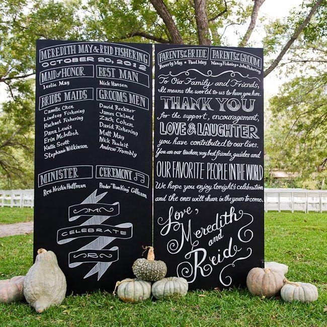 barn reception chalkboard