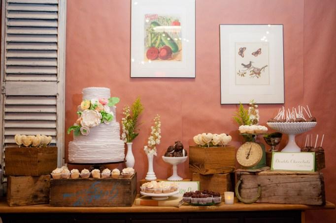 rustic dessert display maine wedding