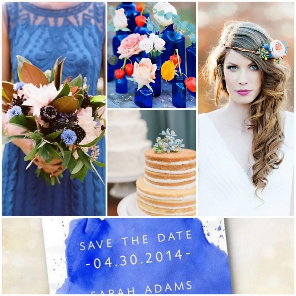 Cobalt Blue Wedding Collage