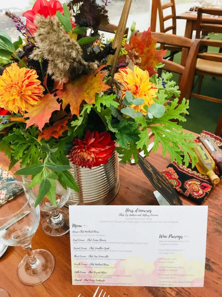 Fields on the Saco Benefit Dinner table setting