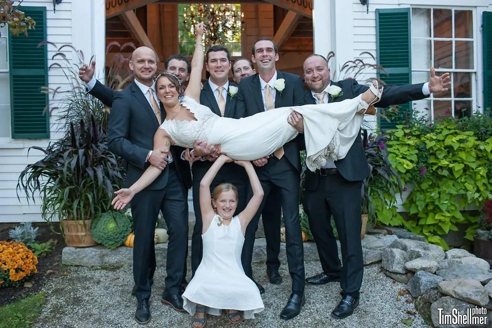Groomsmen, bride, at Hardy Farm Fall wedding