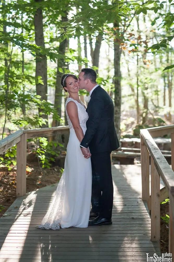 Happy fall Maine wedding couple
