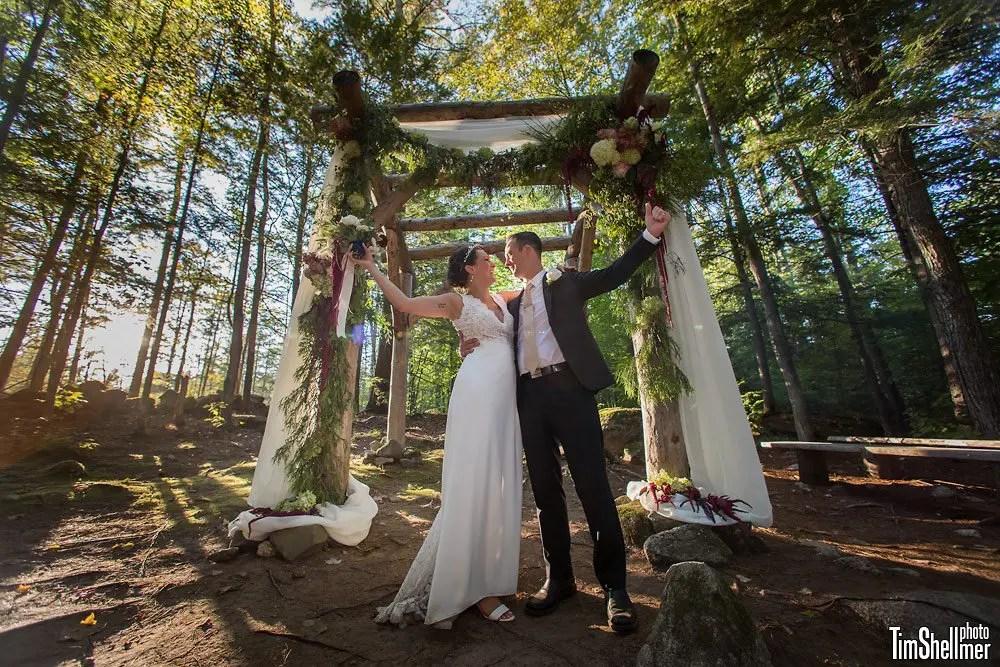 Wedding celebration at woodland chapel at Hardy Farm