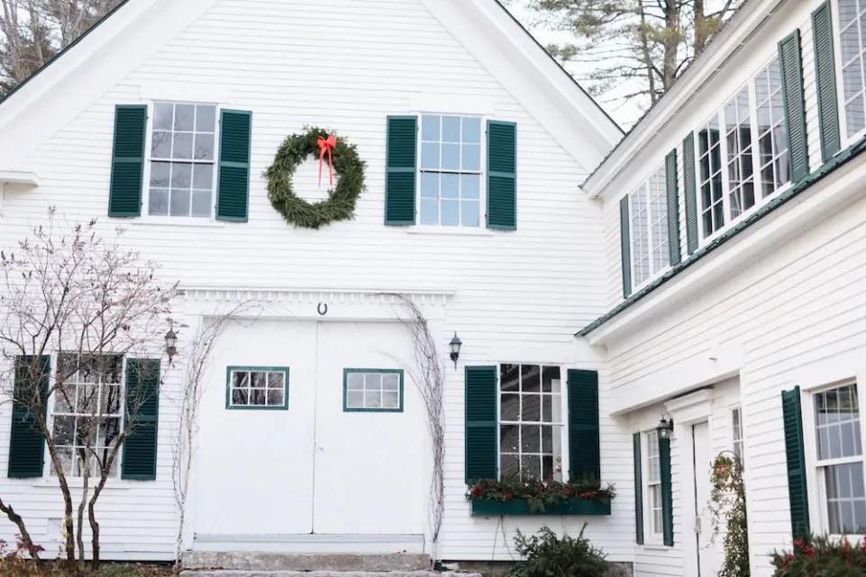 Holiday wreath maine barn