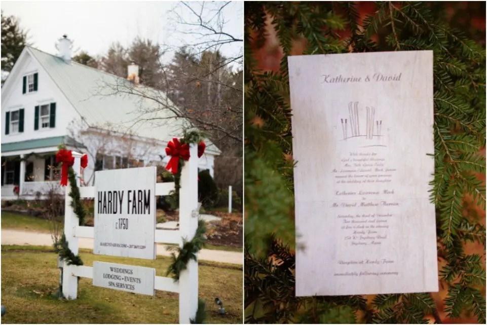 hardy farm december wedding and menu