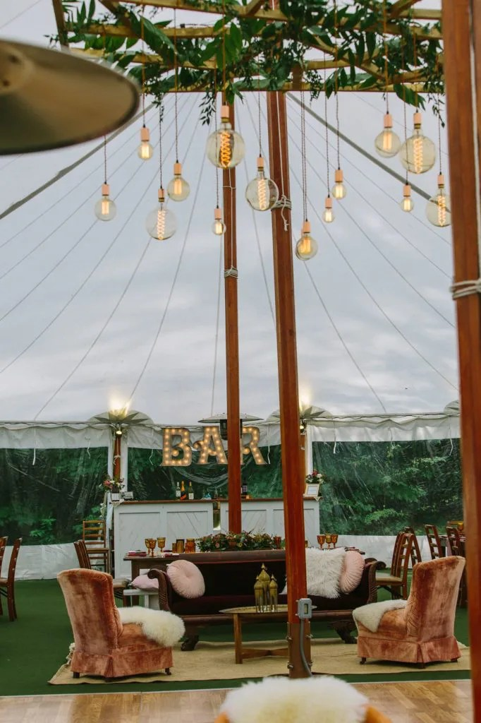intimate bar at tent wedding