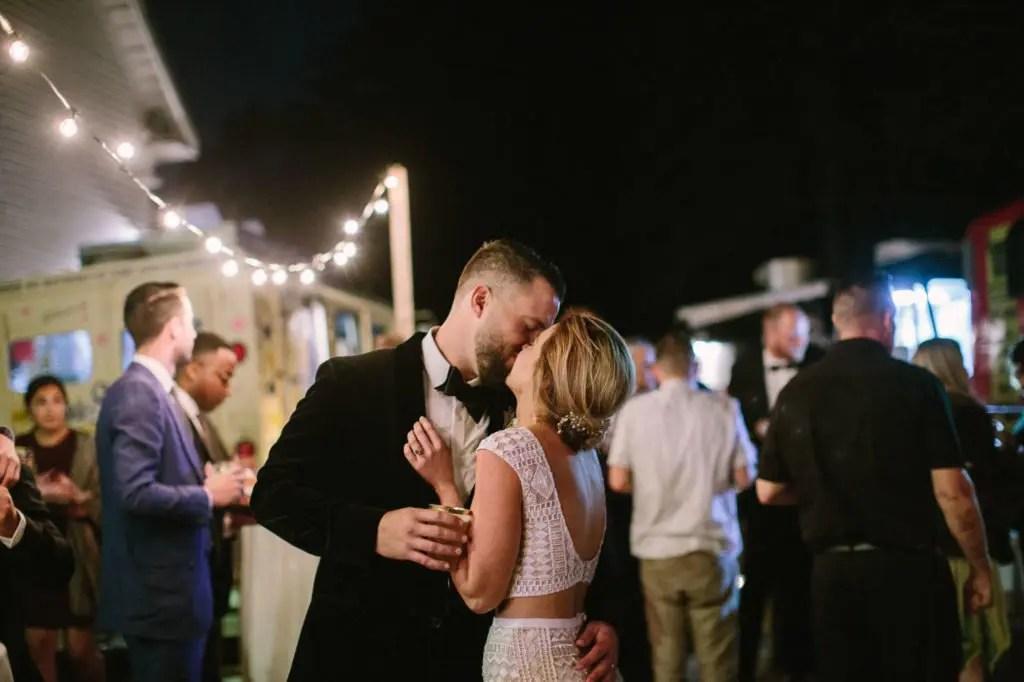 Festival food truck wedding kiss