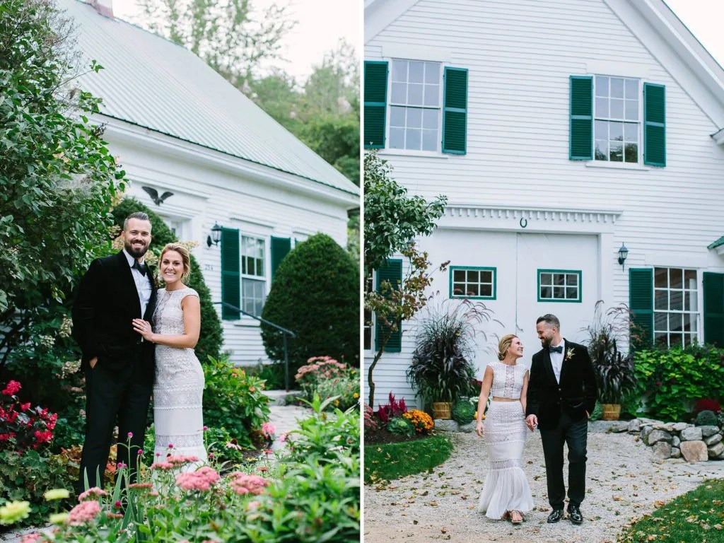 Bride and Groom in front of Hardy Farm