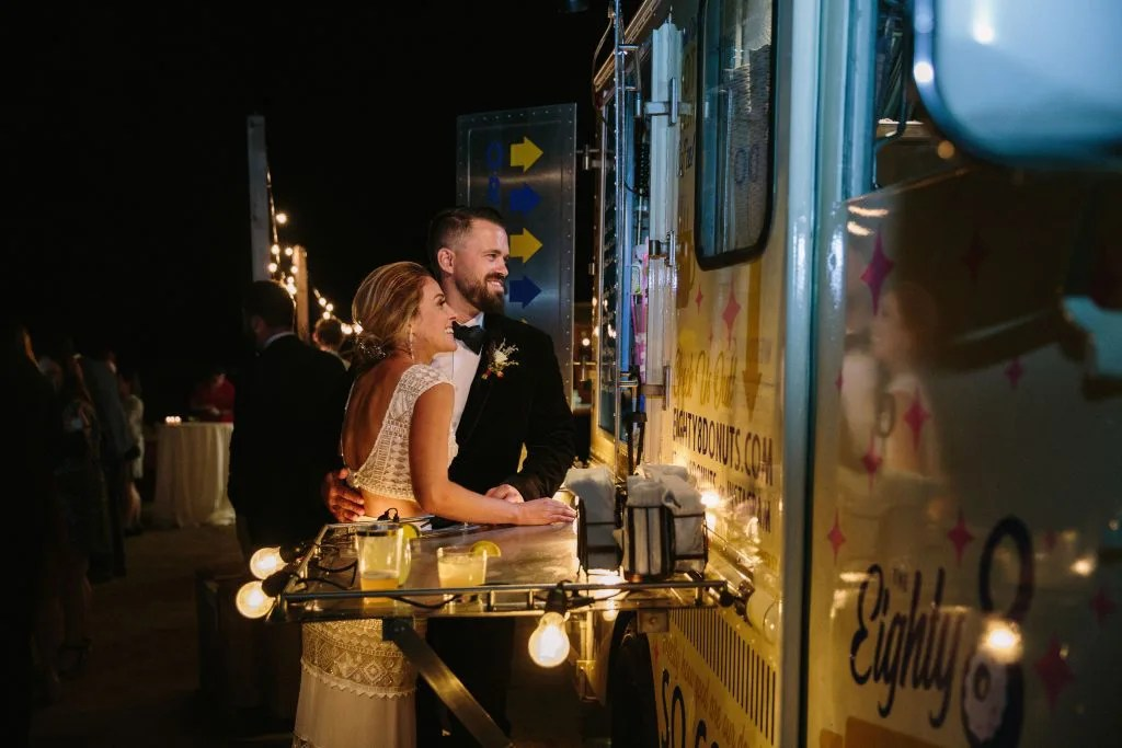 Cozy couple at donut food truck