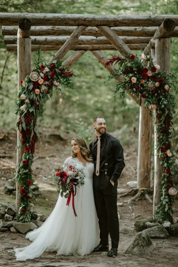 Bright bold colors in woodland chapel