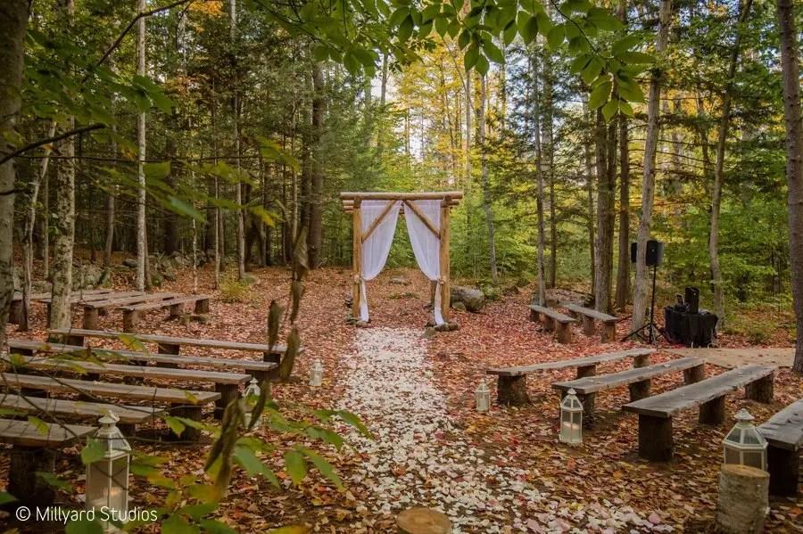 Flower petal walkway to woodland chapel