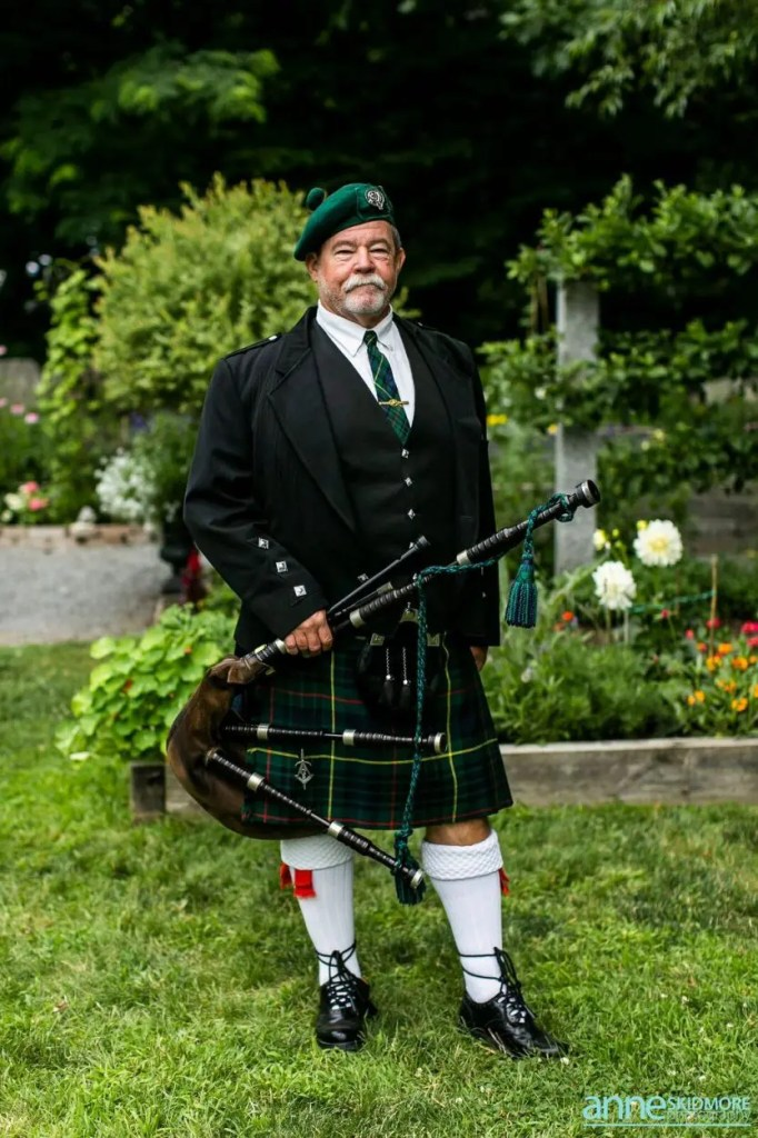 Bag piper at wedding in maine