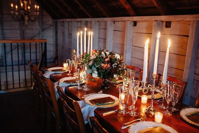 Winter Barn Wedding Tablescape