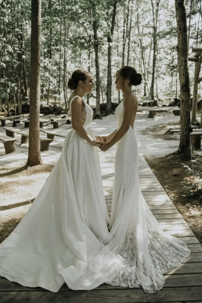 Brides before wedding ceremony in the woods