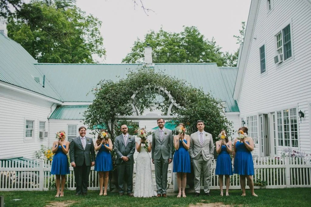Classic blue bridesmaids and flower girls