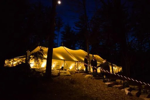 Maine wedding tent at night