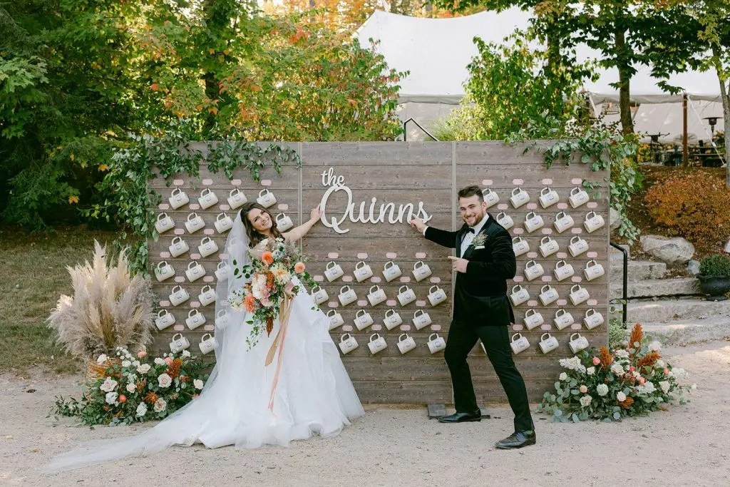Wedding feature wall with beer steins