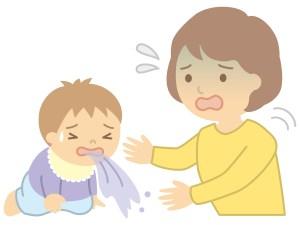 赤ちゃん嘔吐、慌てるママ