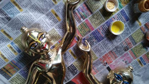 Gaura Nitai 16 Inches Metal