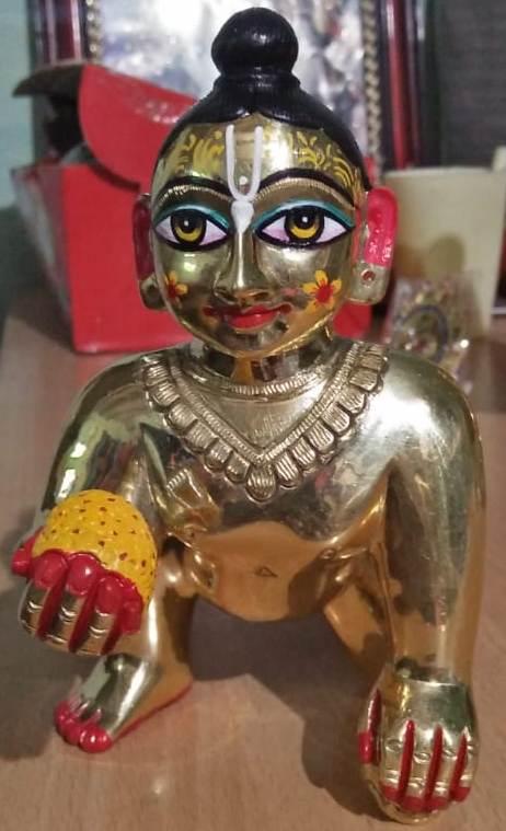 Laddu Gopal 6 Inches Metal Deity