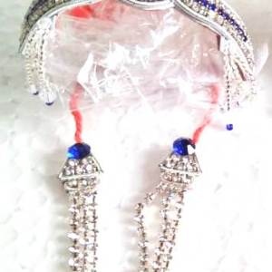 Crown and Necklace ( Mukut and Mala ) Blue White Stones