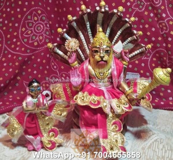 Prahalad Narasimha Dev 10 inches-Painted-Red Dress 2