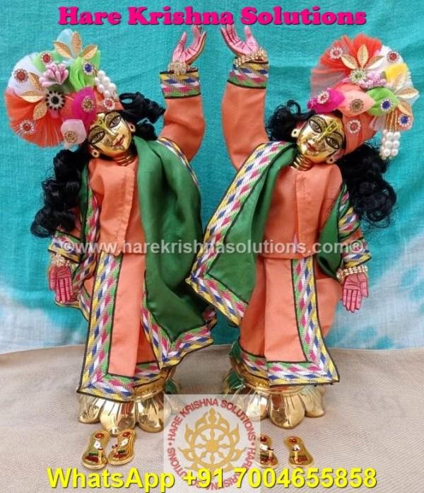 Gaura Nitai 12 SPL inches Orange Green Dress (4)