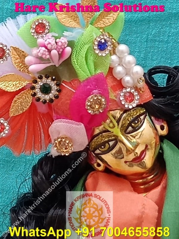 Gaura Nitai 12 SPL inches Orange Green Dress (6)
