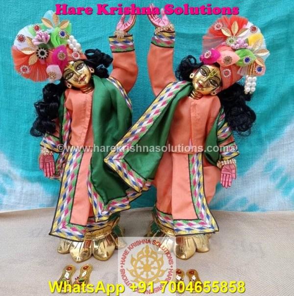 Gaura Nitai 12 SPL inches Orange Green Dress (9)