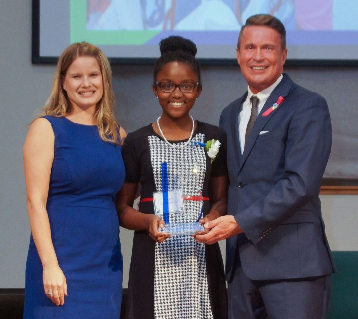Grace Callwood (center), winner of the 2015 Harford's Most Beautiful People Ripple Effect Award, with Director of Community Services Amber Shrodes and County Executive Barry Glassman. Photo credit: Christine Sullivan
