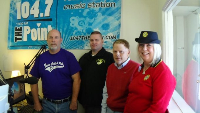 Pictured L to R: Rich Bennett, Host and Owner of Harford County Living, Craig Reeling of the Marine Corps League Harford County Detachment #1198, Mike Layman of Cycling for Our Heroes and Kay Wilson of Joseph L Davis American Legion Auxiliary Unit 47.