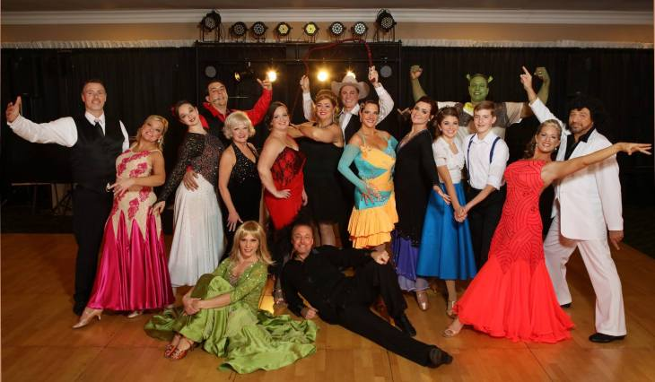 The 2015 Dancing for the Arts celebrity dancers. Instructors Tom Rzepnicki and Natasha Pollock are seated in front.