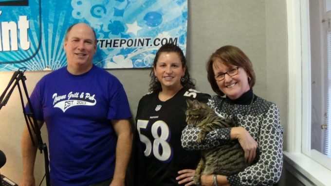 Pictured L to R: Rich Bennett, Host and Owner of Harford County Living, Sarah Coleman of Four Seasons Nursery and Landscape Services, Susan Ciavolino, STEM Education Director at Boys & Girls Clubs of Harford County and Radio Cat (Miss Kitty)