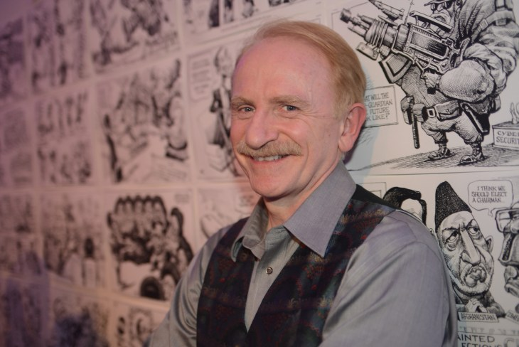 "Kal Kallaugher,  Art Soiree hosts ""First-Term Retrospective"", a collection of critically acclaimed editorial cartoons.  MalMaison, Georgetown.  Photo by Ben Droz."
