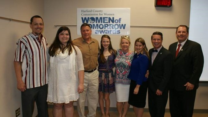 Pictured L-R:  Steven Moffett and his daughter Adaline Diaz, Women of Tomorrow winner in the 9-10 grade category; David McCollum, his daughter Sarah McCollum, nominee, and Sarah's mother Debra McCollum; Director of Community Services Amber Shrodes; Harford County Executive Barry Glassman; and Director of Emergency Services Edward Hopkins. (Not pictured: Women of Tomorrow winner in the 11-12 grade category, Lucy Brooks, and nominee Sydney Biggs, who were unable to attend the ceremony)