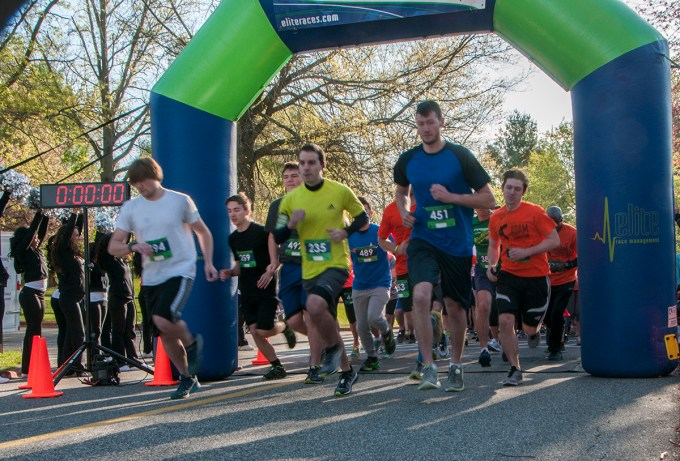 Runners start the 5th Annual Adam Thompson 5K Run/Walk at Harford Community College the morning of April 24. Funds raised by the walk benefit student scholarships at Harford Community College. (Photo by Lauren Ciambruschini/Harford Community College)