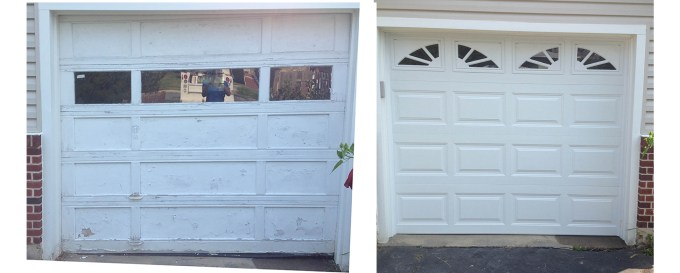 Carl's Door Service transformed the garage of the 2015 Messiest Garage Contest winner. The old peeling garage door was replaced in just a few hours with this sleek new model.