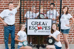 It's hard to 'escape' this family business!  The Cole family of Harford County is opening Great Escapes Harford, the area's first escape room venue, this month. All members of the family plus a few extras are involved with the business including: (front row) daughters Casey Cole (left) and Kirby Cole; (back row) dad Chris Cole, grandfather Joe Cole, son Cullen Cole, close family friend Mike Amoriello and mom Katie Cole.  Sister-in-law Jennifer Mullen (not pictured) is another employee. Great Escapes Harford is located at 2108 Emmorton Road in Bel Air.  Photos by Stacey Young, SKY Photography
