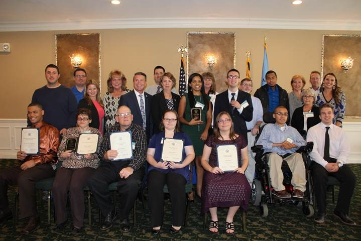 Photo caption: Award recipients and VIP guests at the Oct 25 Harford County Disability Employment Luncheon, from left, front row: Byron Wainright, Victoria Sudano, Jeffrey Harkins, Kasia Oledzka, Holly Glorioso, Asa Cromwell, Shawn Leilich; second row: Mike Hatzinikolas, Amber Shrodes, County Executive Barry Glassman, MD Dept. of Disabilities Secretary Carol Beatty, Tia Timpson, Garon Hidey, Carol Burkindine; third row: Noah Wiseman, Kathy Halliday, Shaun O'Brien, Jane Skrzypiec, Ron Costa, Sharmar Robinson, Torri Dietrich, Jack Rhodes, Rachel Harbin