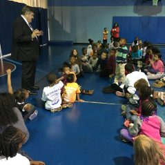 The Congressman answers a question from Marcelles Kenly, 8 years old, a member of the Aberdeen Boys & Girls Club for 2 years.