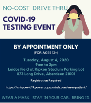 HEALTH DEPARTMENT TO HOLD NO COST DRIVE THRU COVID-19 TESTING EVENT ON AUGUST 4th